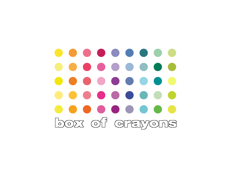 Box of Crayons multi colour dots logo